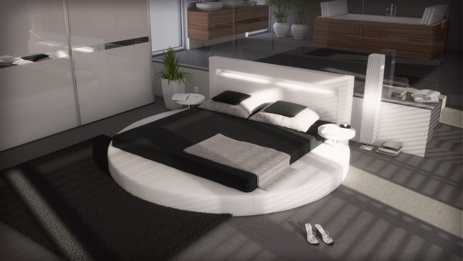 Lit rond design en simili cuir avec éclairage - Uster