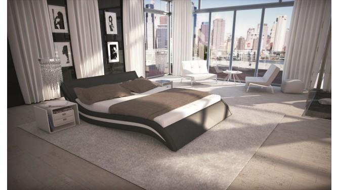 Lit design moderne en simili cuir - Laren