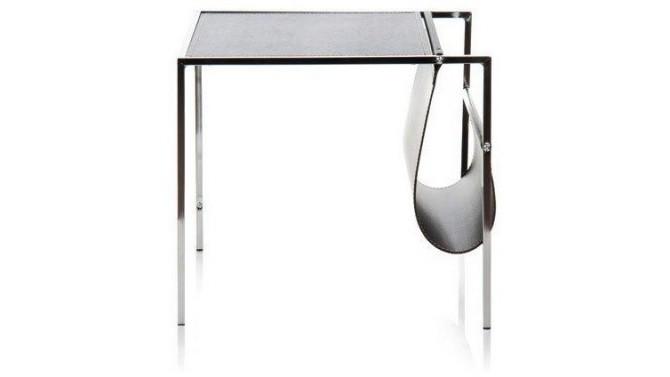 Table d'appoint / porte-revues en métal et similicuir noir - Chuck
