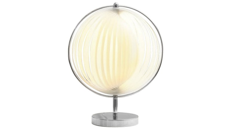 Lampe de table ronde moon jr dot e de lamelles modulables for Petite lampe exterieur