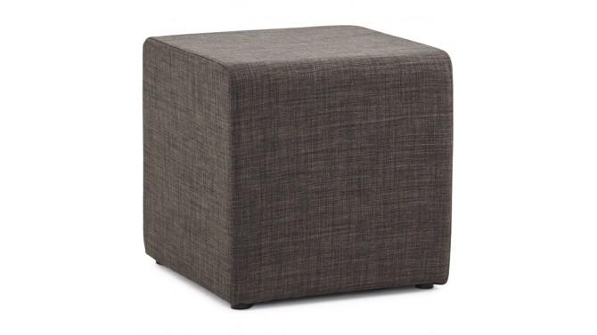 Pouf cube gris foncé en tissu tramé - Trévor