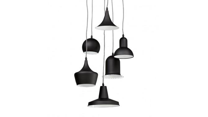 Lustre industriel noir à 6 suspensions - Erna