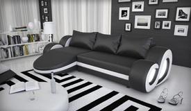 Canapé d'angle lumineux simili cuir - Wilton