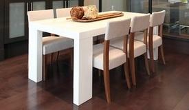 Table à manger design laquée blanche - Aryan