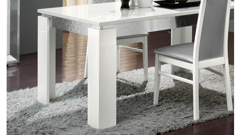 table d ner blanche et gris brillant trenton gdegdesign. Black Bedroom Furniture Sets. Home Design Ideas