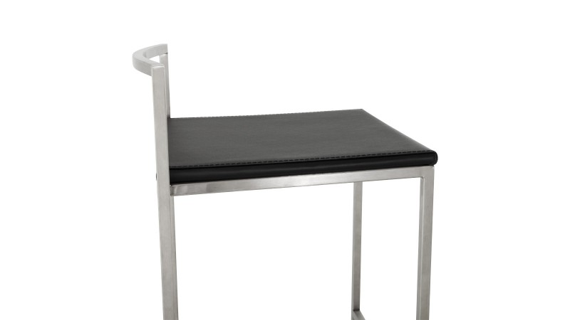 Chaise de bar design en inox bross et simili cuir yavor gdegdesign for Tabouret de bar inox avignon