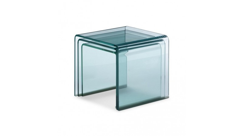 Table d 39 appoint gigogne noula en verre transparent for Table gigogne en verre