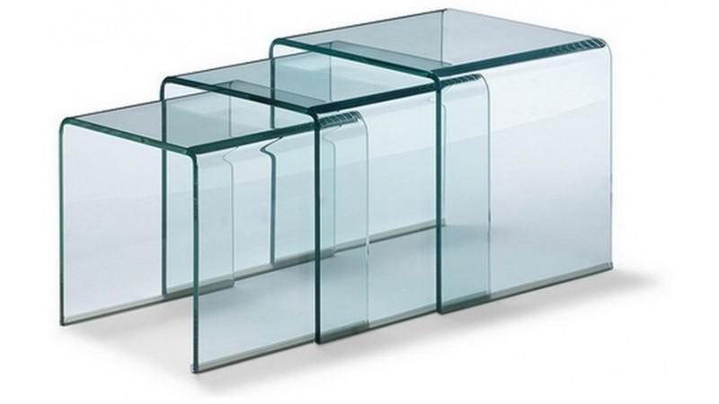 table d'appoint gigogne noula en verre transparent - gdegdesign