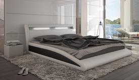 Lit cuir simili 160x200 cm blanc et noir avec éclairage - Milton
