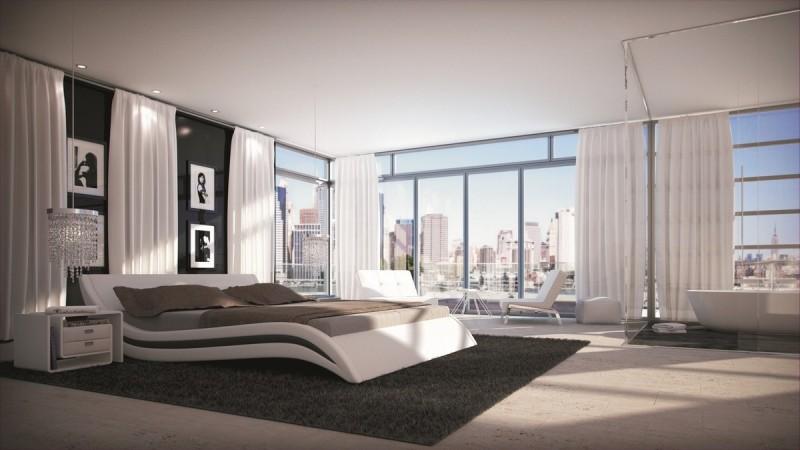 lit moderne en simili cuir blanc et noir 160x200 cm laren gdegdesign. Black Bedroom Furniture Sets. Home Design Ideas