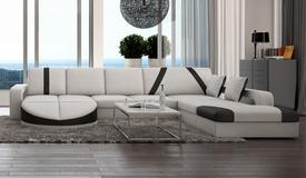 Canapé d'angle en cuir + simili cuir blanc et noir - Utena