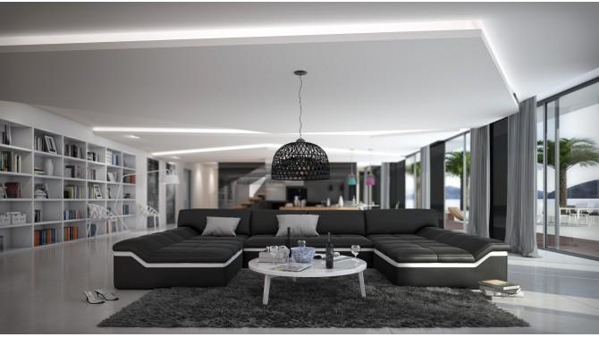 Canap design panoramique en cuir simili cuir dorog - Canape noir et blanc design ...