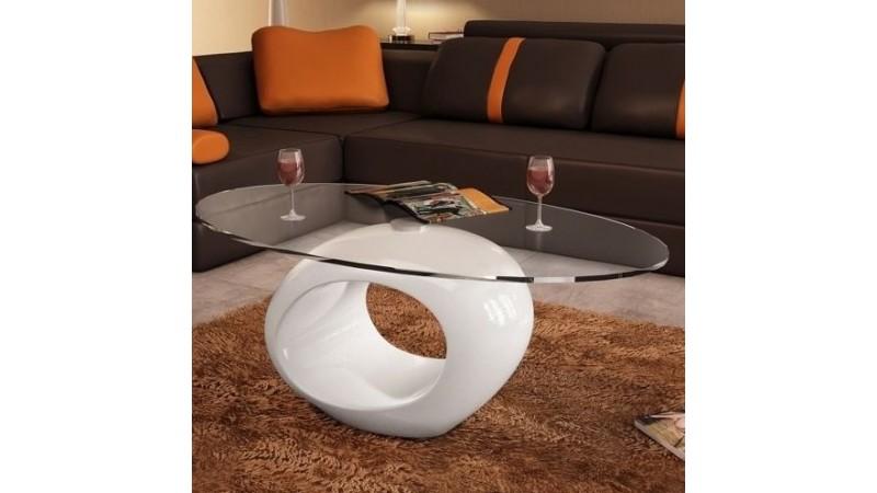 Table basse vienne avec plateau verre tremp ovale sur - Table basse avec plateau en verre ...