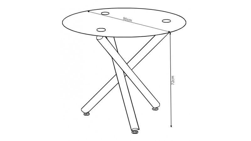 Table ronde manger en verre tremp alex sur pieds entrecrois s gdegdesign - Table salle a manger ronde en verre ...