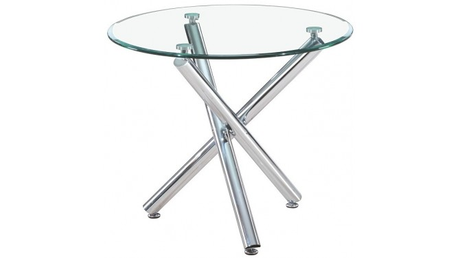 Table ronde manger en verre tremp alex sur pieds for Table salle a manger en verre design ronde