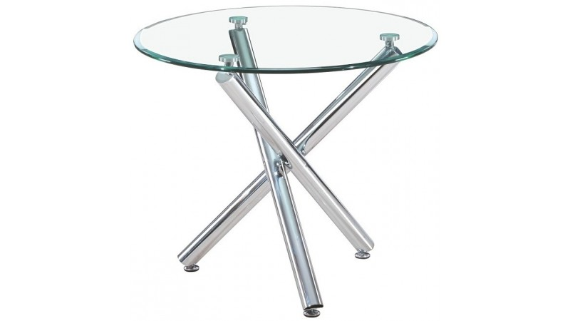 Table ronde manger en verre tremp alex sur pieds for Table a manger ronde en verre