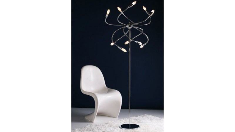 lampe de sol design weep en m tal chrom avec branches. Black Bedroom Furniture Sets. Home Design Ideas