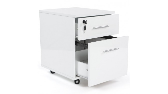 caisson meuble de bureau blanc avec tiroirs et roulettes noma gdegdesign. Black Bedroom Furniture Sets. Home Design Ideas