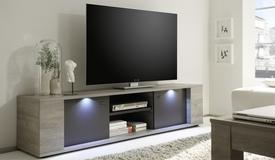 Meuble TV bois 2 portes avec LEDs - Otakar