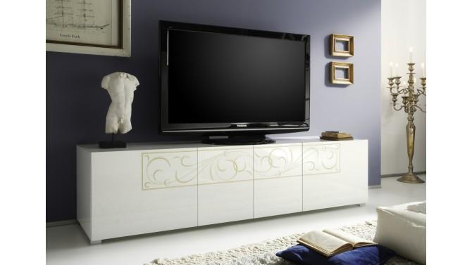 Meuble tv baroque laqu blanc 4 portes avec motifs vito - Meuble tv baroque ...