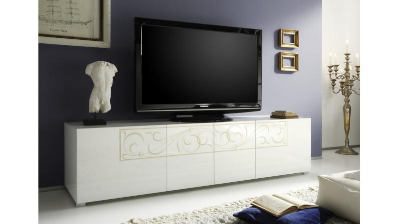 meuble tv baroque laqu blanc 4 portes avec motifs vito. Black Bedroom Furniture Sets. Home Design Ideas