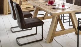 Chaise design vintage aspect cuir vieilli - Coll