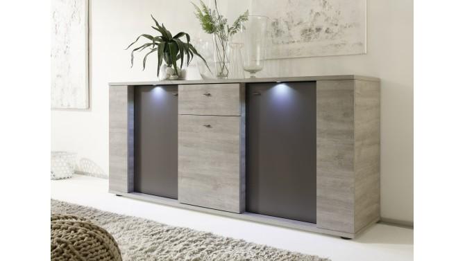 Buffet 3 portes et 1 tiroir avec LEDs - Otakar