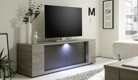 Meuble TV 2 portes avec LED - Otakar