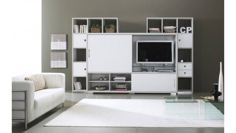 mur tv design de salon avec rangements split gdegdesign. Black Bedroom Furniture Sets. Home Design Ideas