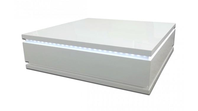 Table de salon carrée blanche avec LEDs - Talgar