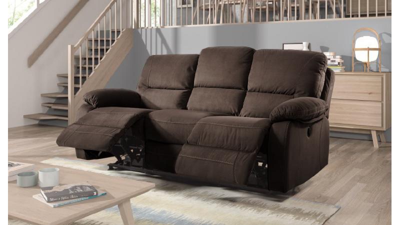 canap 3 places de relaxation lectrique chocolat nara. Black Bedroom Furniture Sets. Home Design Ideas
