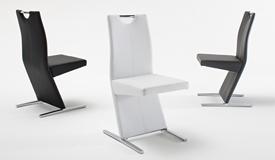 Chaise simili cuir et métal chromé - Millard