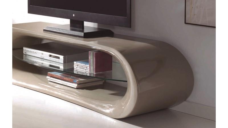 Meuble t l 160 cm de couleur avec tag re verre larson for Meuble tv avec etagere