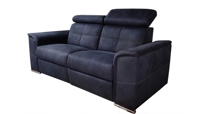 Canap 2 places lectrique relax tissu velout bleu andrew gdegdesign - Canape 2 places electrique ...