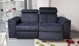Canapé 2 places électrique tissu bleu - Andrew