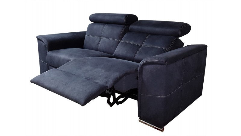 canap 2 places lectrique relax tissu velout bleu andrew. Black Bedroom Furniture Sets. Home Design Ideas