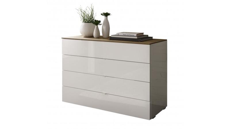 commode de rangement 4 tiroirs blanche et bois sophia. Black Bedroom Furniture Sets. Home Design Ideas