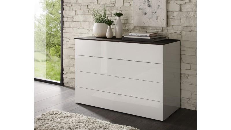 Commode de rangement 4 tiroirs blanche et bois sophia gdegdesign - Commode laquee blanche ...