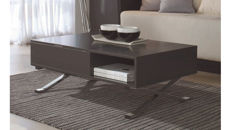 Table de salon moderne avec tablette relevable glenn gdegdesign - Table basse tablette ...
