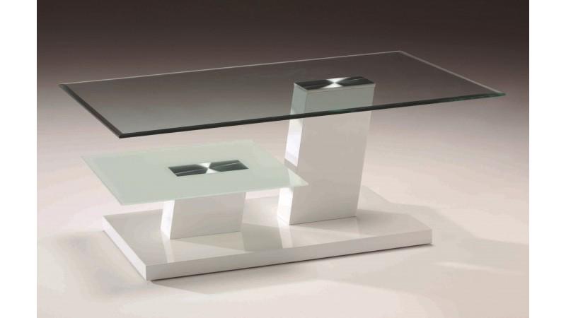Table basse rectangulaire en verre raven 2 plateaux - Table de salon en verre design ...