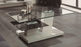 Table de salon en verre double plateau - Raven