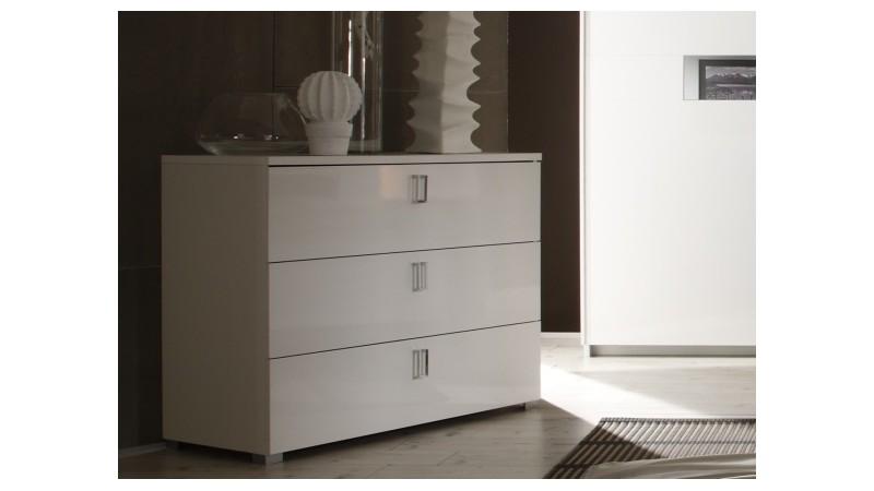 Commode de rangement 3 tiroirs laqu e blanche gemma gdegdesign - Commode laquee blanche design ...