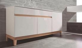 Bahut 3 portes et 1 tiroir blanc et bois - Oswald