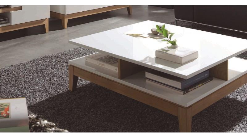 Table de salon scandinave carr e blanche et bois oswald - Table basse blanche scandinave ...
