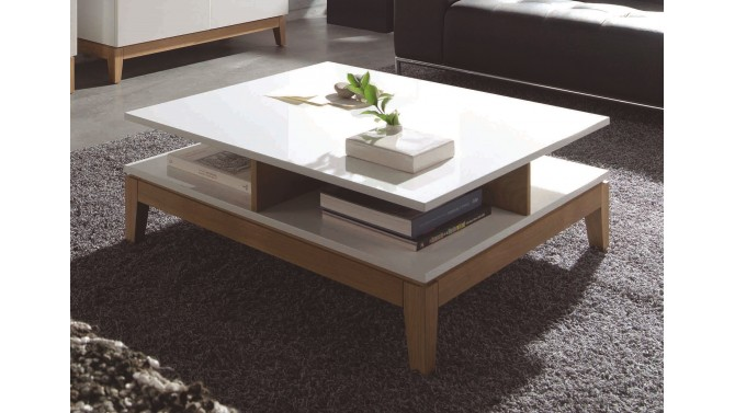 Table de salon scandinave carr e blanche et bois oswald for Table basse blanche bois