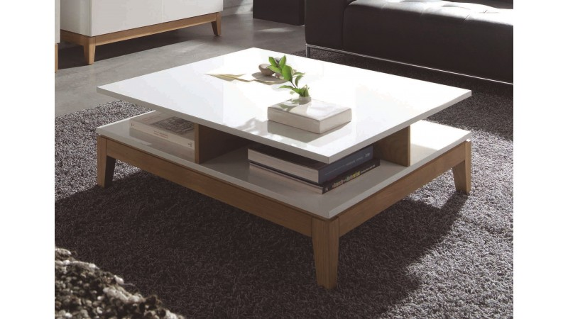 Table basse blanche et bois maison design for Table 90x90 design