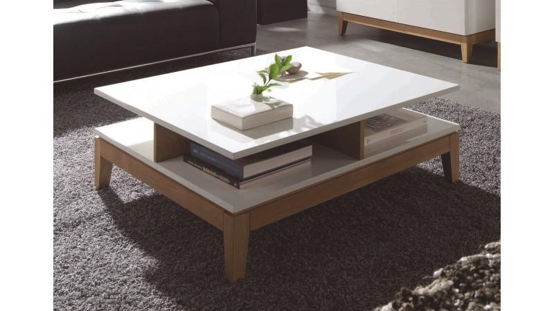 table de salon scandinave carr e blanche et bois oswald gdegdesign. Black Bedroom Furniture Sets. Home Design Ideas