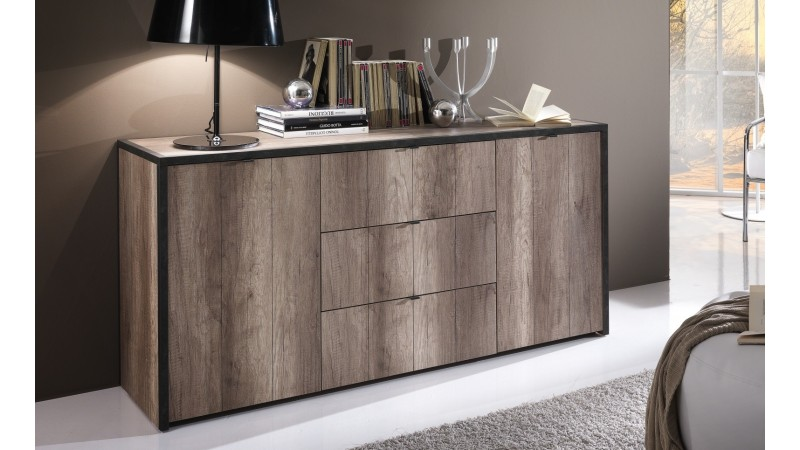 buffet design industriel 160 cm bois et gris fonc blair. Black Bedroom Furniture Sets. Home Design Ideas