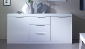 Buffet laqué blanc 2 portes + 3 tiroirs - Salvatore