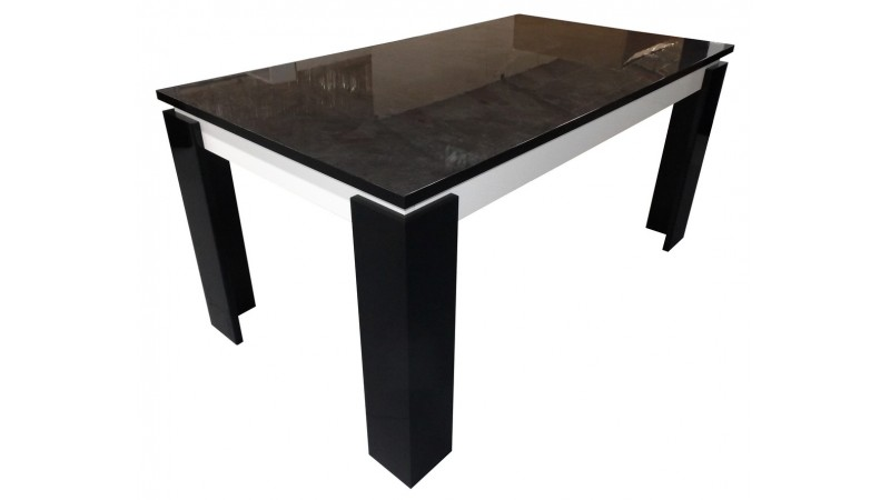 Grande table de salle manger rallonge varsovie for Table a manger noir